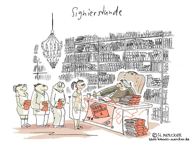 Cartoon: Schriftsteller signiert Bücher zum Thema Grobmotorik