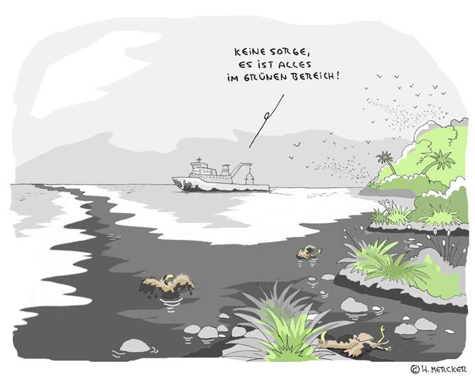 "Cartoon ""Alles im grünen Bereich (Ölkatastrophe Mexiko 2010)"""
