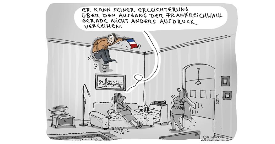 Cartoon von H. Mercker zum Ausgang der Präsidentschaftswahl in Frankreich 2017