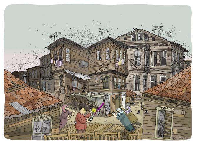 """Illustration """"Zwischen den Holzhäusern"""""""