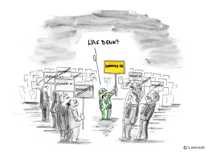 "Cartoon ""Stuttgard - Hannover (Debatte Stuttgard 21, 2010)"""