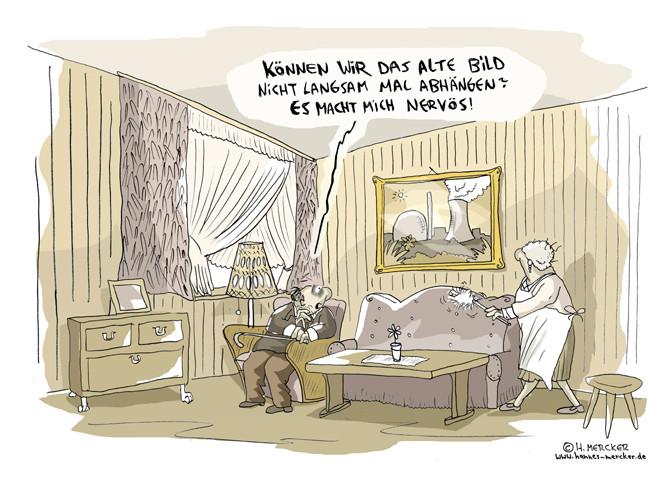 """Cartoon """"Abhängen (AKW Debatte nach Fukushima 2011)"""""""