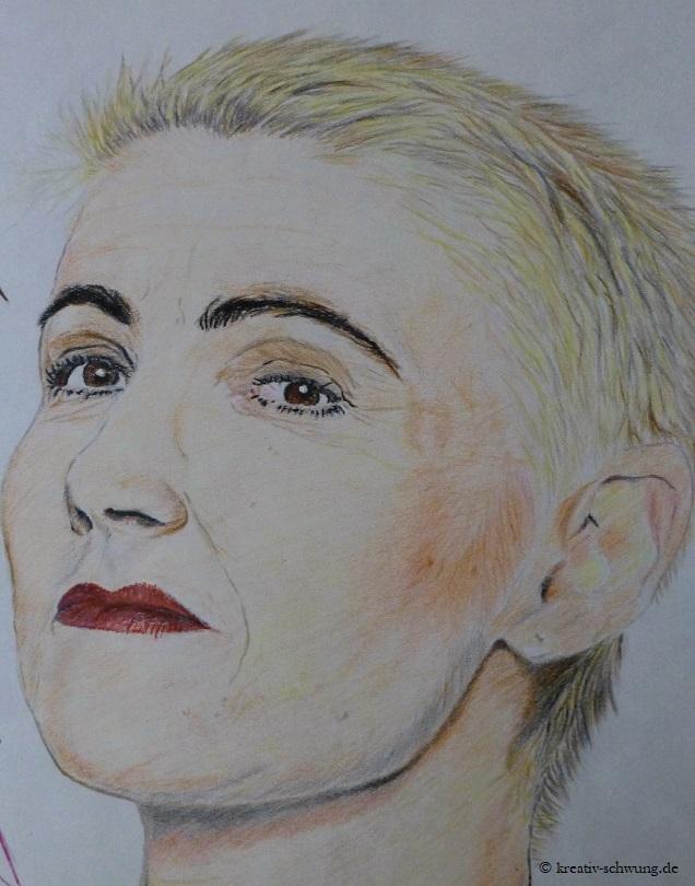 Marie Portrait, Farbstifte