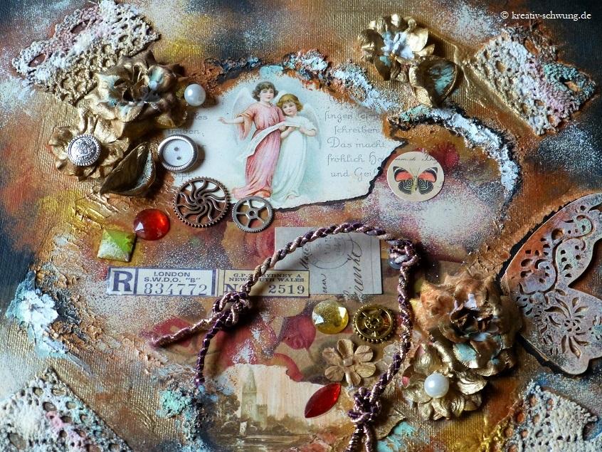 Collage mit Assemblage auf Leinwand