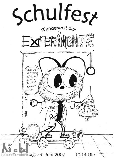 """Einladung Schulfest 2007, Thema """"Experimente"""""""