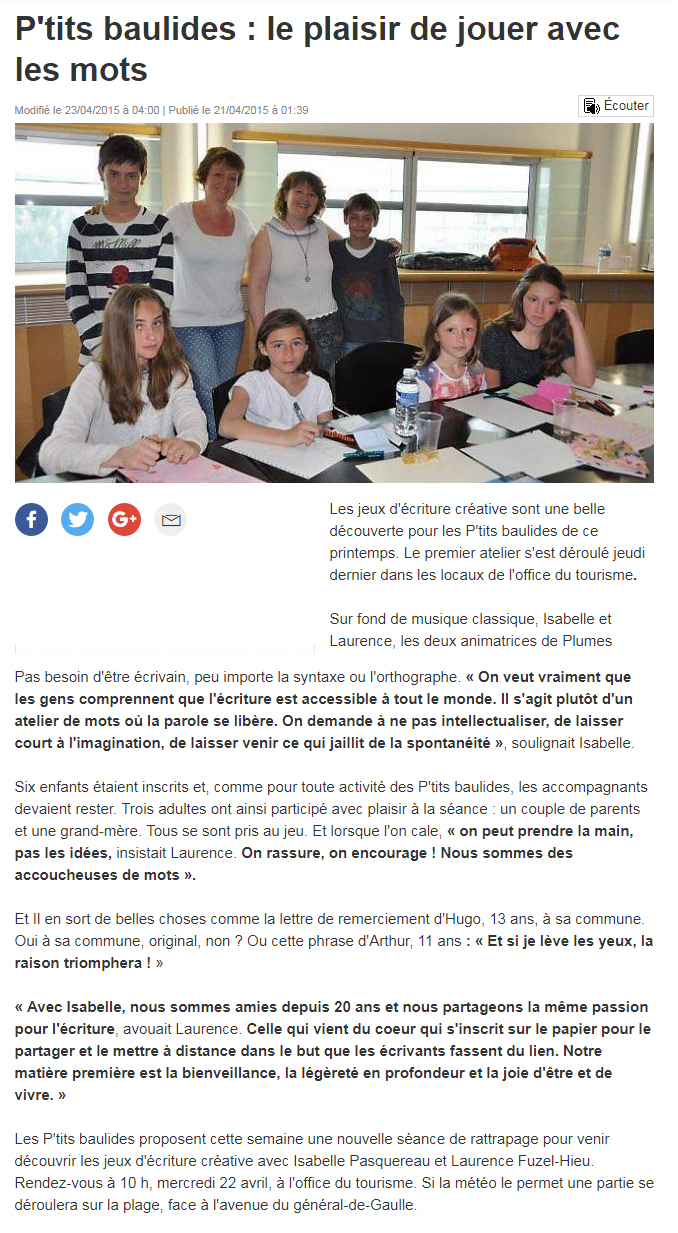 Isabelle Pasquereau A Portée de Mots, atelier d'écriture La Baule