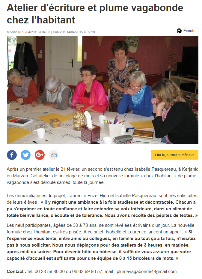 Atelier d'écriture & Plume Vagabonde chez l'habitant