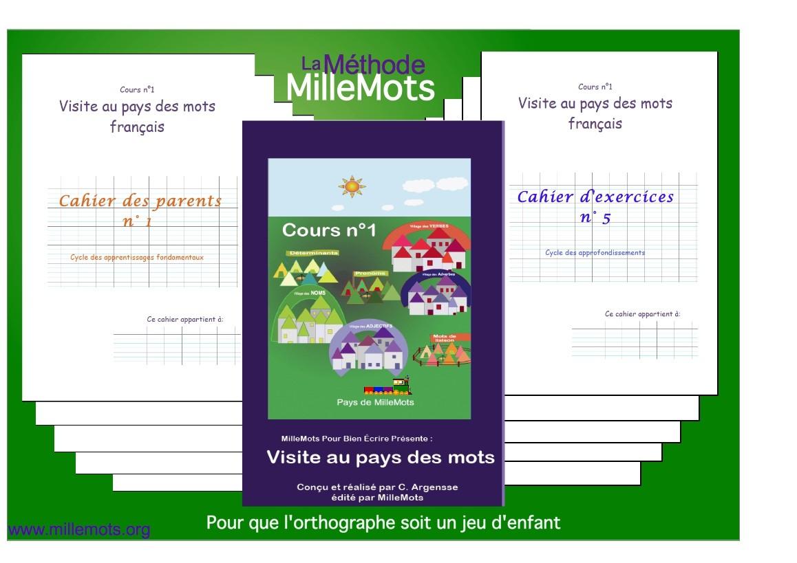 Un cours  =  La leçon + 3 cahiers d'exercices  ( 20 à 25 exercices)+ 3 cahiers des parents               (Entre 100 et 120 p A5)