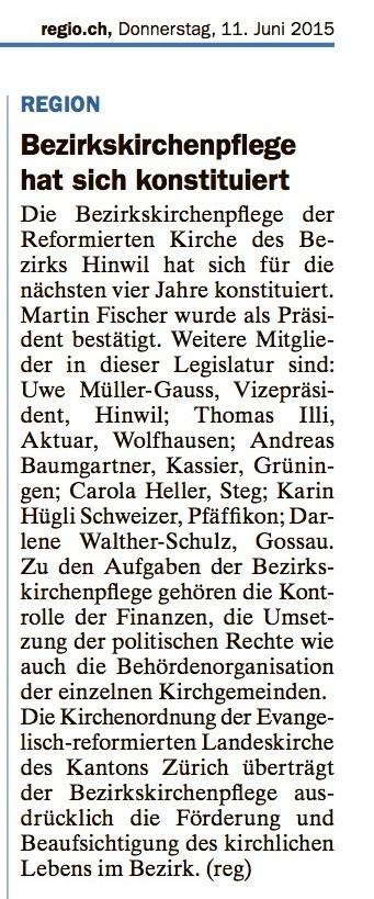 """""""regio.ch"""" vom 11. Juni 2015"""