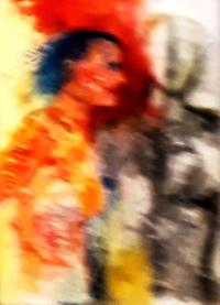 """Bild 70x100cm  """"zwischenzweit"""" Mischtechnik Acryl, Kohle, zwischen 2 """"Welten"""" von Eva Schebesta"""