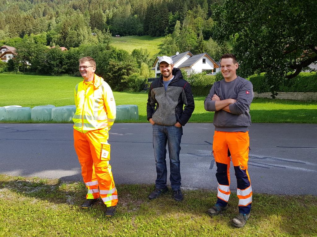 gute Laune bei den Bauhofmitarbeitern