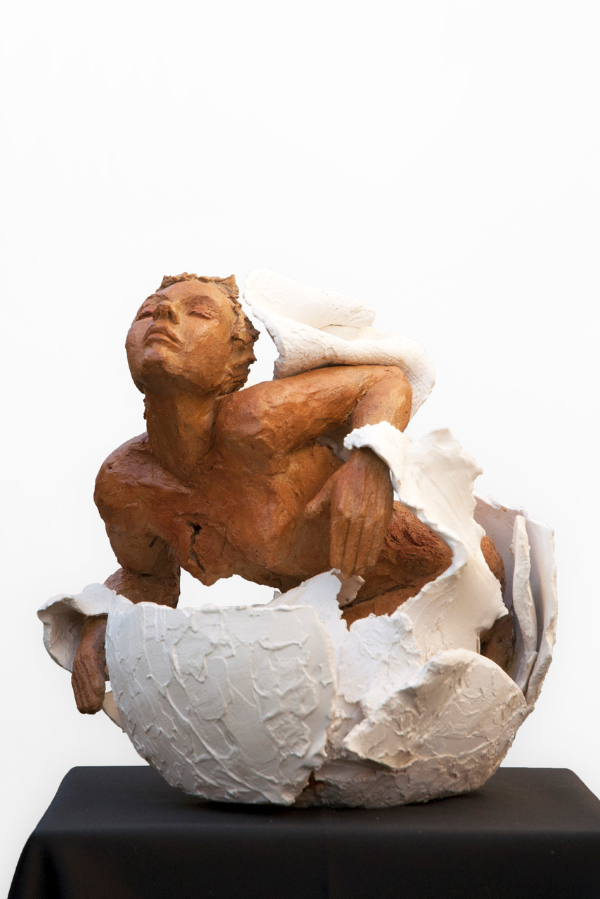I will not lose, sculpture femme, grès et porcelaine - 2400 euros
