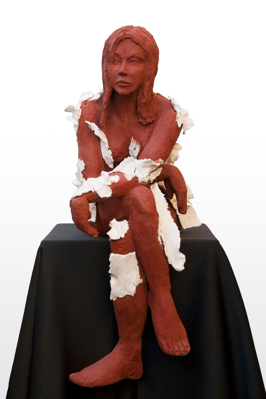 De ma sève, qu'avez-vous fait?, sculpture femme, grès et porcelaine - 900 euros