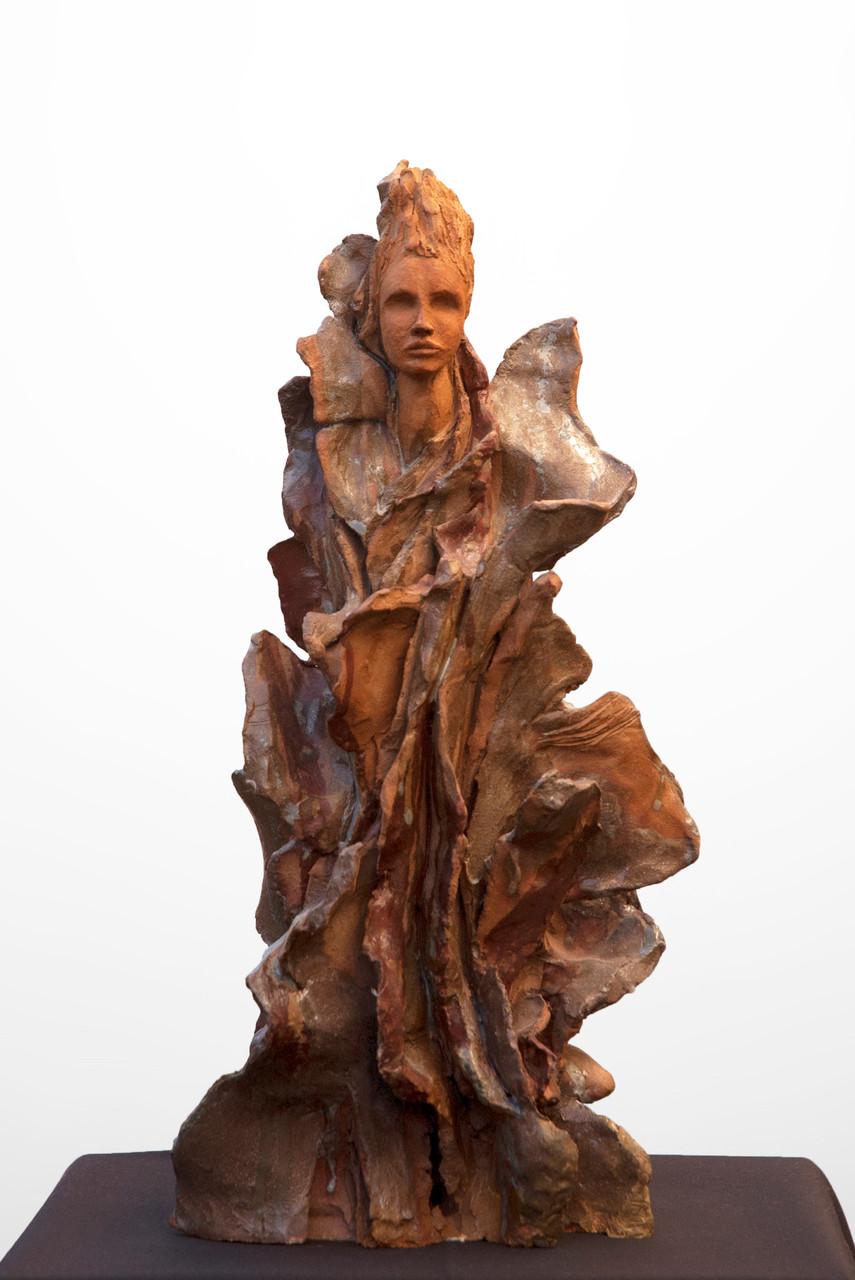 Braise, sculpture femme, grès et émaux - vendue