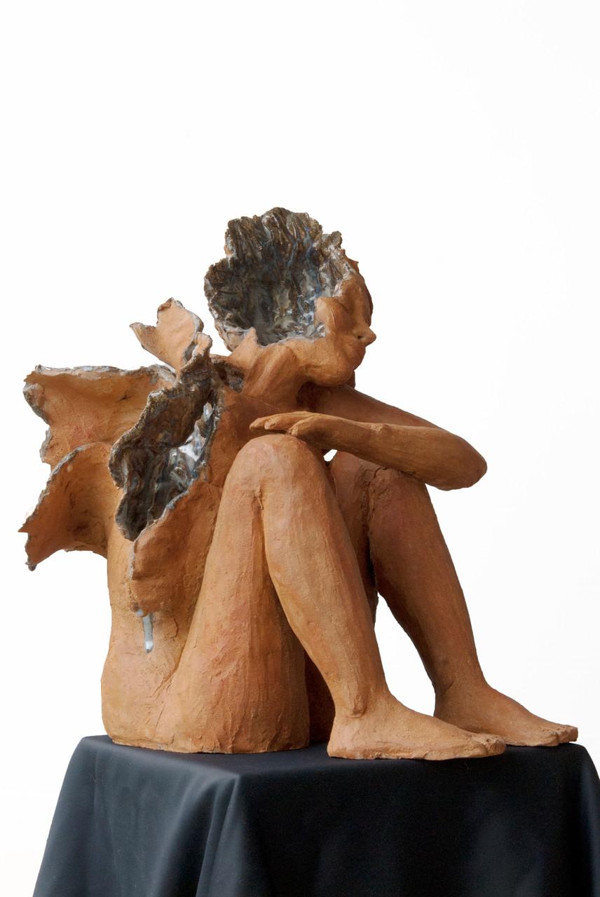 Sweetness is blue, sculpture femme grès et émaux - vendue