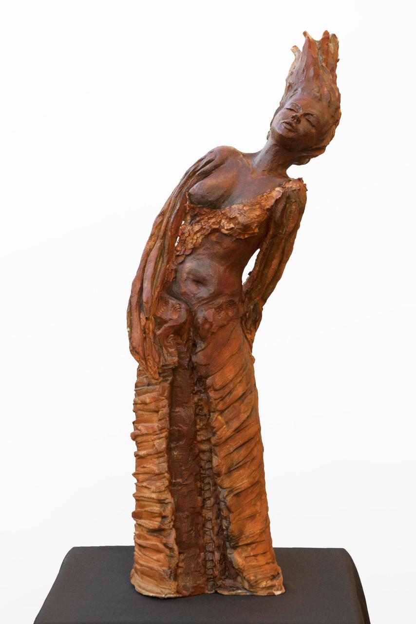 Canta, sculpture femme, grès et émaux - 700 euros