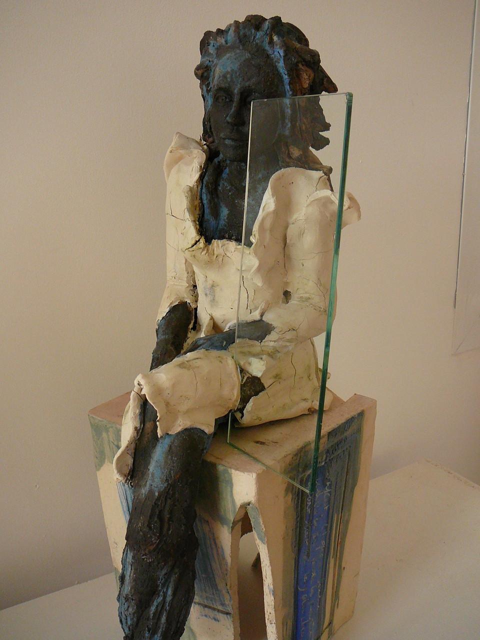 Orphéa, grès, sculpture femme, émaux et porcelaine - vendue