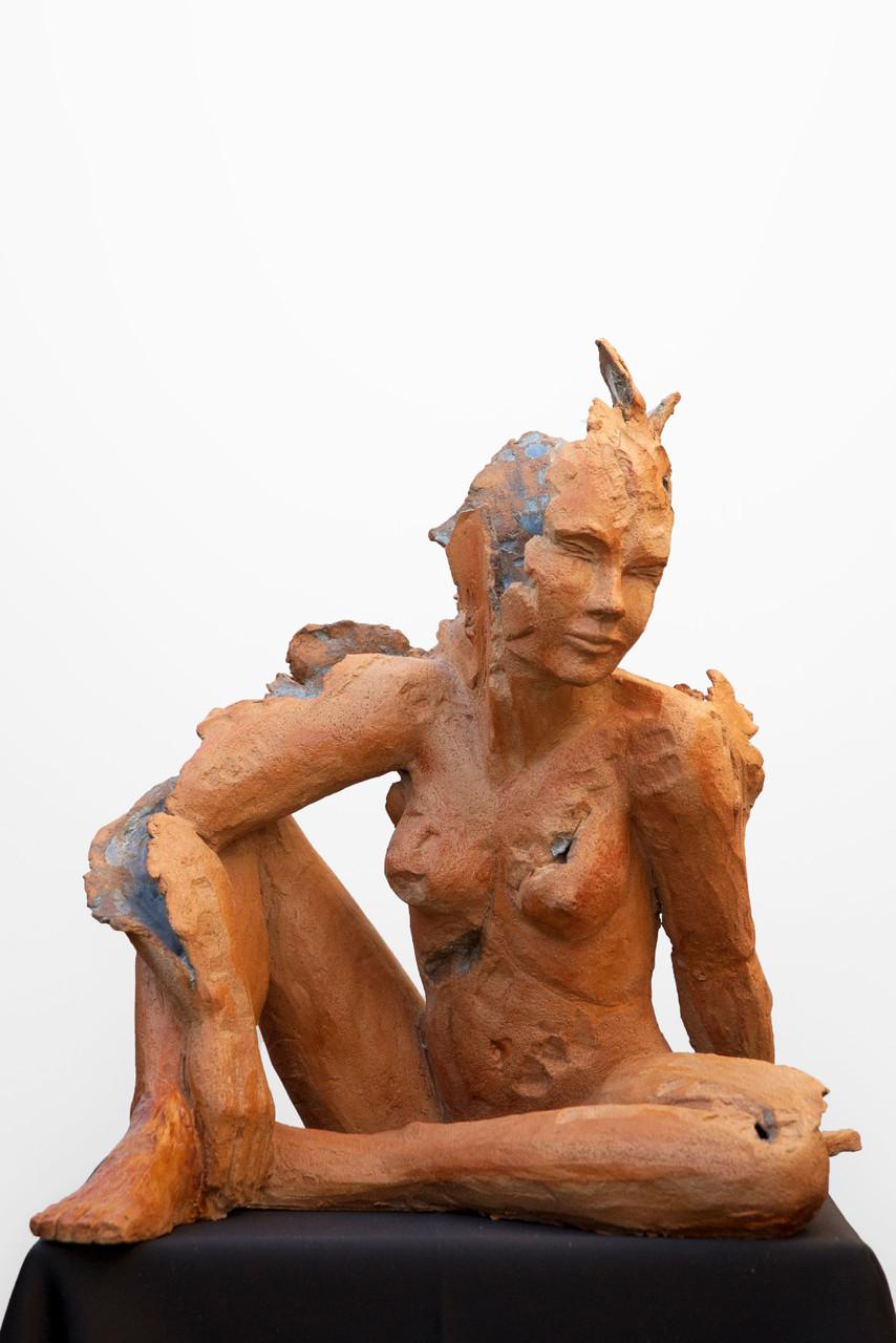 Dream is blue, sculpture femme grès et émaux- 900 euros