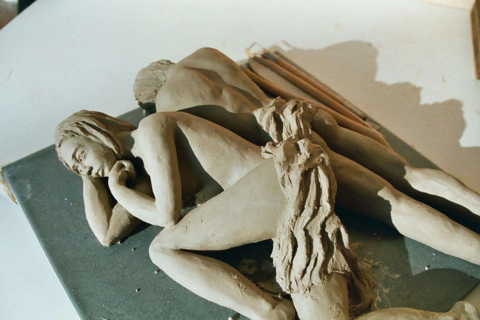 Toi et moi, sculpture couple, grès - vendue