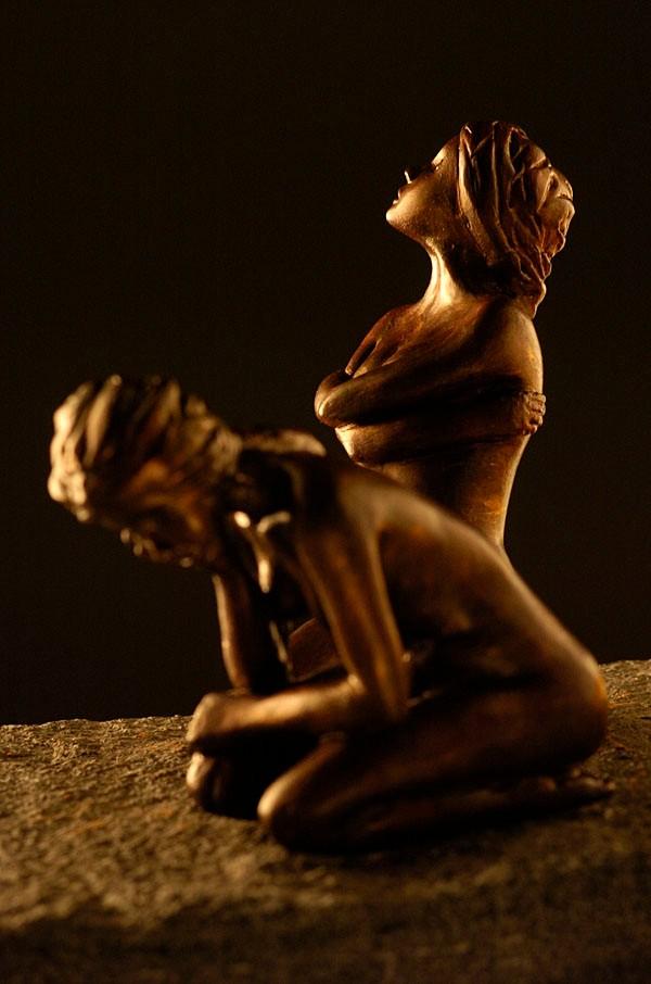 Eurydice et Eau Morte, sculpture femmes, bronze - 900 euros