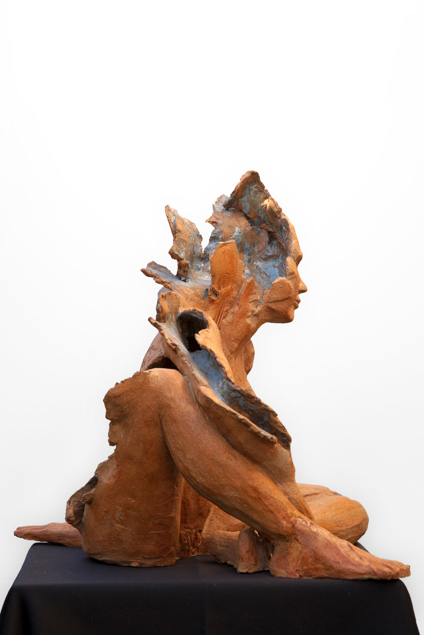 Dream is blue, sculpture femme grès et émaux - 900 euros
