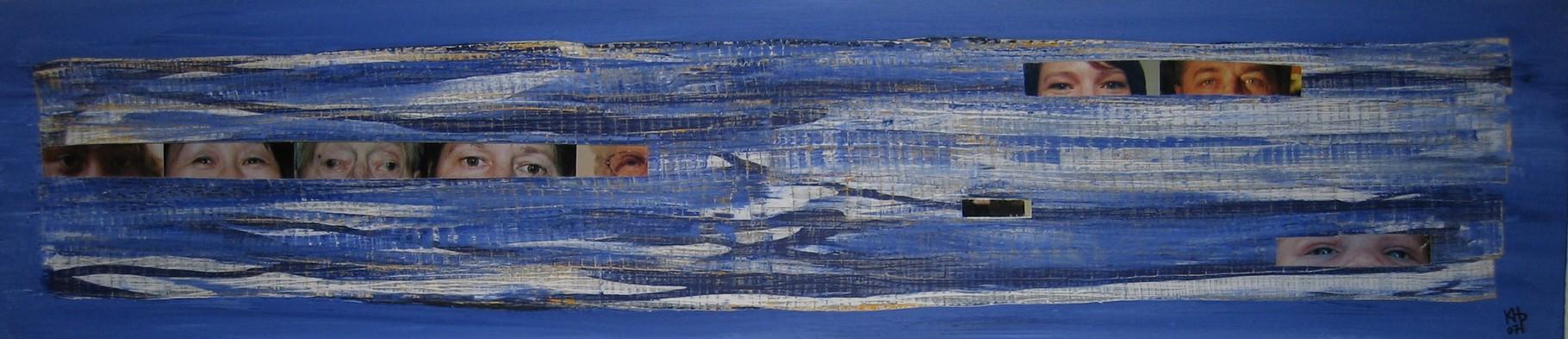 """Augen-Blicke (Collage zum Text """"Augen ... spiegeln die Seele"""") 2007 / Acryl auf Leinwand / Fotografien / Spiegel / 40 x 180 cm"""