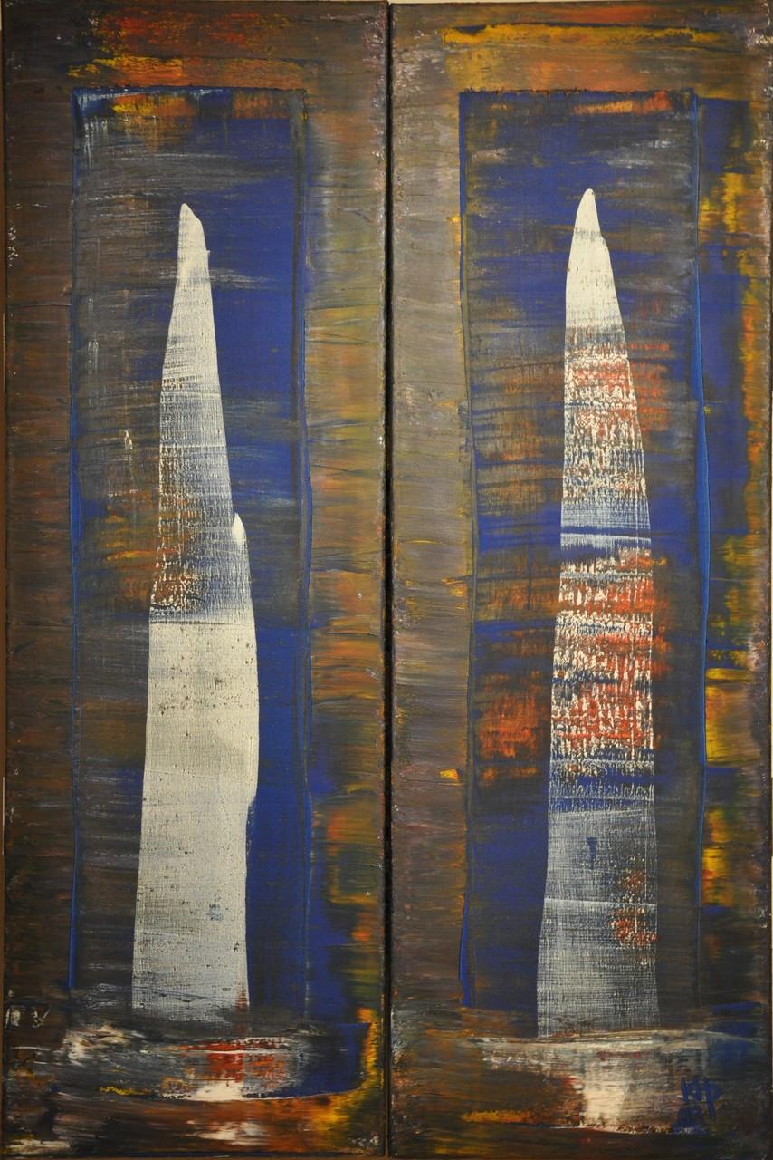 Offenbarung III: Wege ins Zentrum (Diptychon / außen) 2009 / Acryl auf Leinwand / 120 x 80 cm