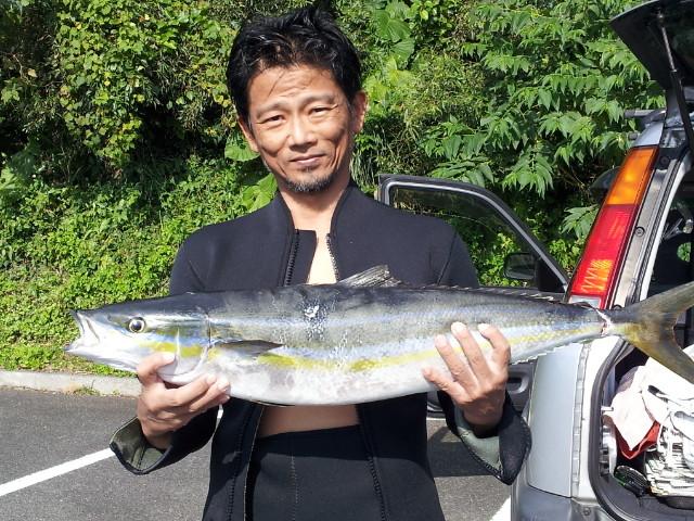 オーナーの素潜りで魚を突く  Skin divin of owner's hobby