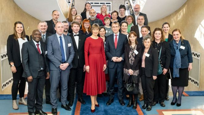 EUSTORY-Netzwerk beim Empfang der estnischen Präsidentin Kaljulaid (Foto: Aron Urb)