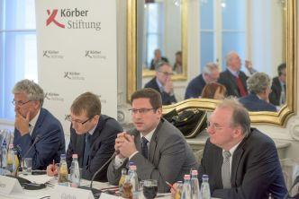 Peter Frey, Thomas Paulsen, Gergely Gulyás, Reiner Haseloff (Foto: Körber-Stiftung/Barnabás Szabó)