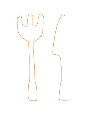 アイコン 「食事」 (作: 塚原 美樹) ~ ナイフの刃を内側に向けて描く
