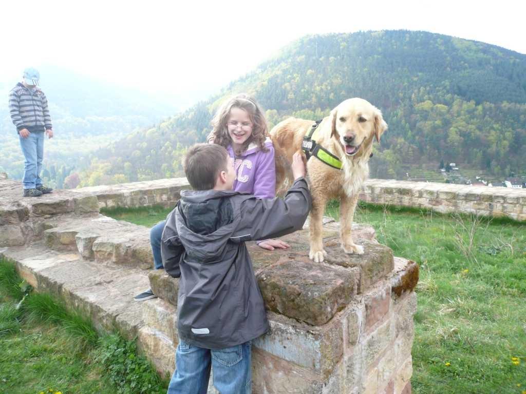 ... auf der Wolfsburg mit Krümel im Burghof klettern