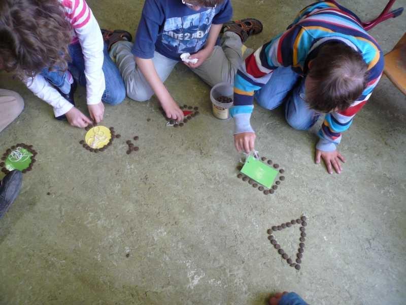 Geometrie - Formen legen mit Trockenfutter