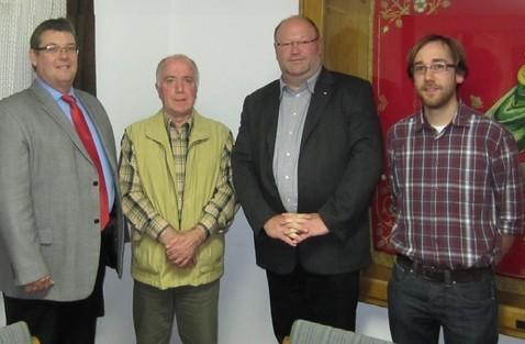 v.l.n.r.: Michael Maurer, SPD Keisvorsitzender,  Norbert Bock, SPD Ortsvereinsvorsitzender, Peter Gras, scheidender Vorsitzender  und Andreas Nick, stellv. Ortsvereinsvorsitzender.