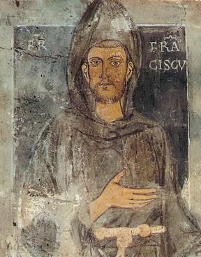 Der heilige Franz von Assisi. Einziges, zu Lebzeiten geschaffenes Bildnis. Gemeinfrei, aus Wikipedia