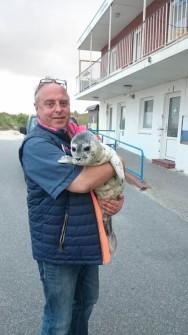 Seehundjäger Holger Lewerentz mit Seehund-Heuler auf Amrum