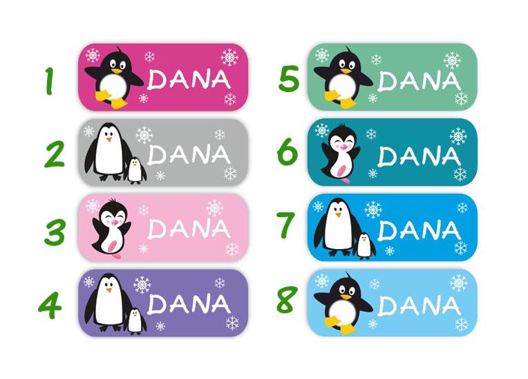 eckige Namensaufkleber, Motiv: Pinguin,  hochwertige, umweltfreundliche PVC-freie Folie