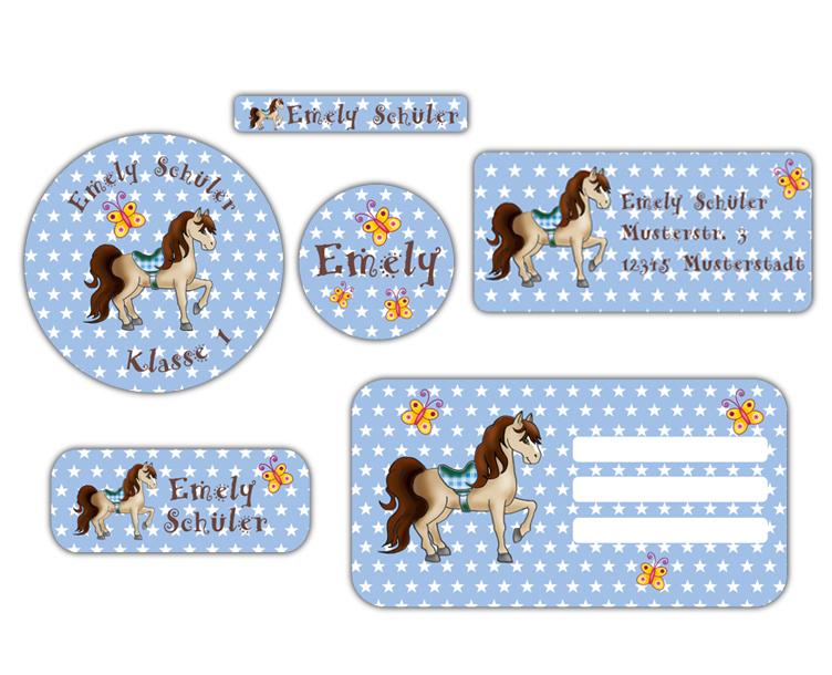Schulaufkleber-Set - Motiv: Pferd mit Sternchen - Namensaufkleber, Stifteaufkleber, Adressaufkleber, Heftaufkleber,  hochwertige, umweltfreundliche PVC-freie Folie