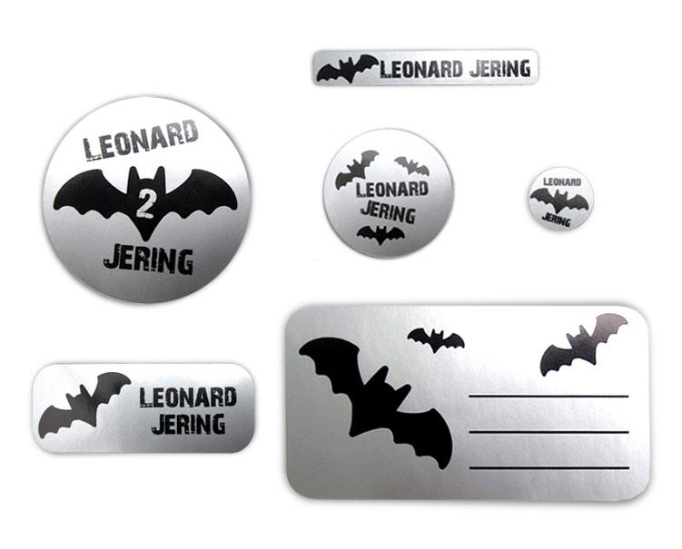 Silbermetallic Schulaufkleber-Set: Fledermaus,  mit verschiedene Namensaufkleber, Stifteaufkleber, Heftaufkleber