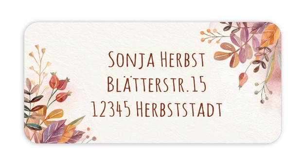 eckige Adressaufkleber mit Herbstblättern und Hagebutten auf umweltfreundlichen PVC-freien selbstklebenden Papier, wasserfest