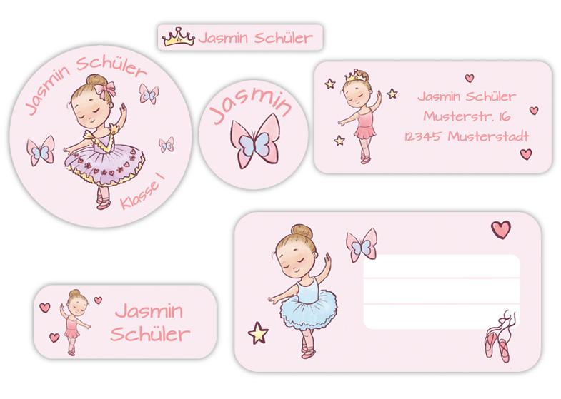 Schulaufkleber-Set - Motiv: Kleine Ballerina - Namensaufkleber, Stifteaufkleber, Adressaufkleber, Heftaufkleber,  hochwertige, umweltfreundliche PVC-freie Folie