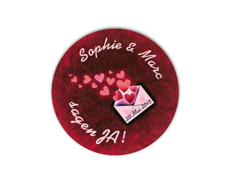 personalisierbare Hochzeitsaufkleber mit romantischen Herzchen Brief - für Verlobungen, Hochzeiten, Familienfeiern, Gastgeschenke, Einladungen, Dankesbriefe
