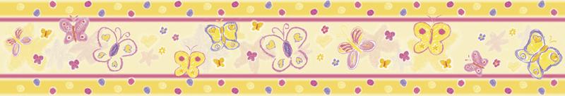 Wandbordüre mit Schmetterlingen, Blumen & Pünktchen - liebevoll handgemaltes Motiv