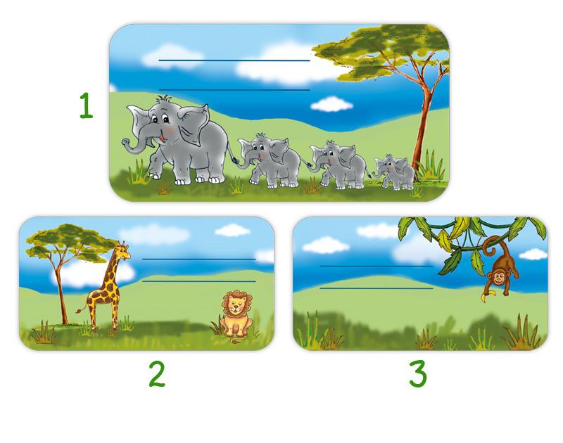 Heftaufkleber zum selber beschriften - Motiv: Tiere Afrikas - Elefanten, Löwe, Giraffe, Affe  - hochwertige, umweltfreundliche PVC-freie Folie