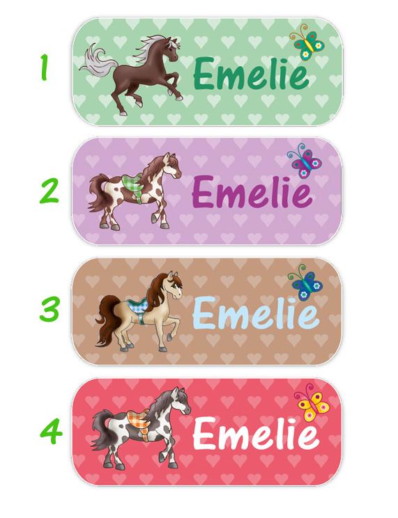 eckige Namensaufkleber, Motiv: Pferde und Herzchen,  hochwertige, umweltfreundliche PVC-freie Folie