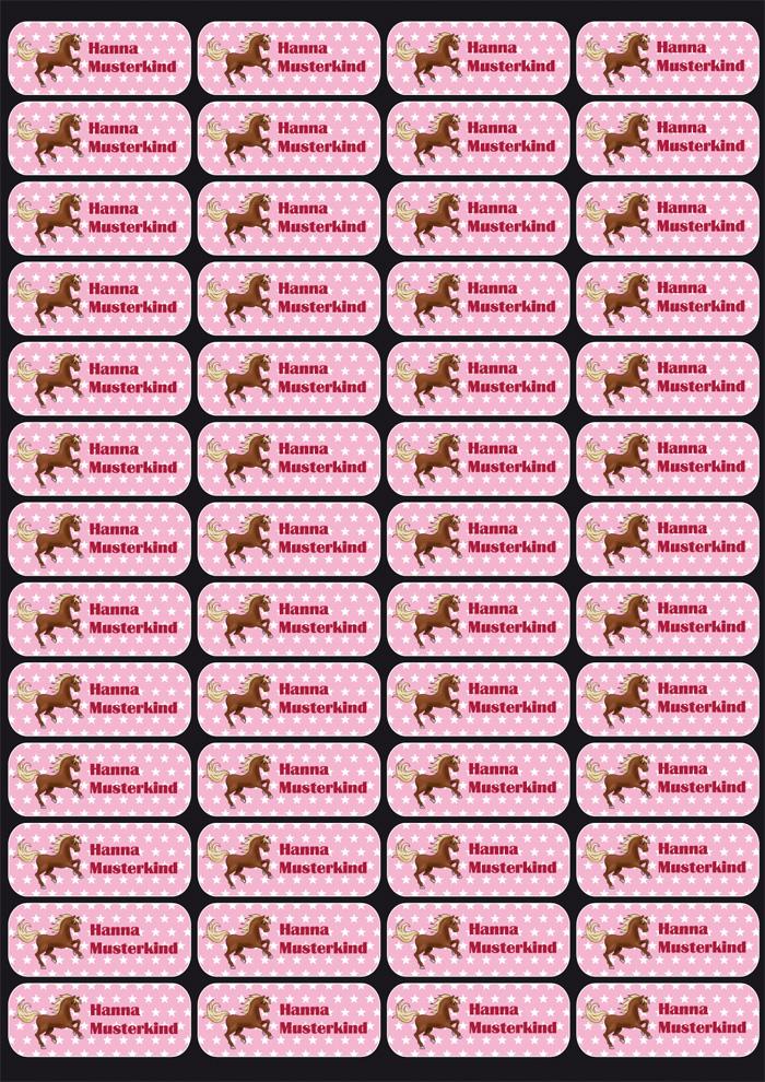 Namensaufkleber: Pferd Sternchen