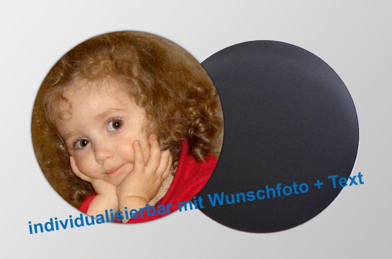 mit Foto und Wunschtext personalisierbare Magnetfotos - rund - für Hochzeiten, Familienfeiern, Einschulung, Urlaub, Gastgeschenke