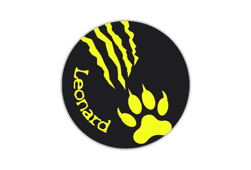 runde Neon Namensaufkleber: Tiger Kralle - auffällig durch intensive Leuchtwirkung