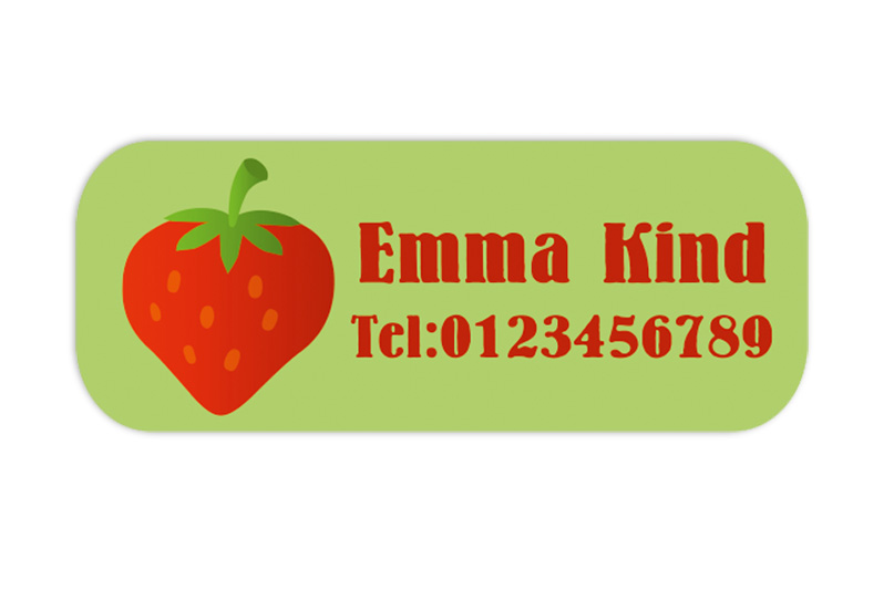 eckige Namensaufkleber, Motiv: Erdbeere,  hochwertige, umweltfreundliche PVC-freie Folie