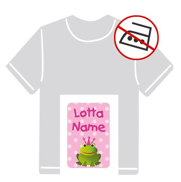 Kleidungsaufkleber für kurzfristige Markierung der Kleidung - ohne Aufbügeln - pvc-frei - Motiv: Frosch